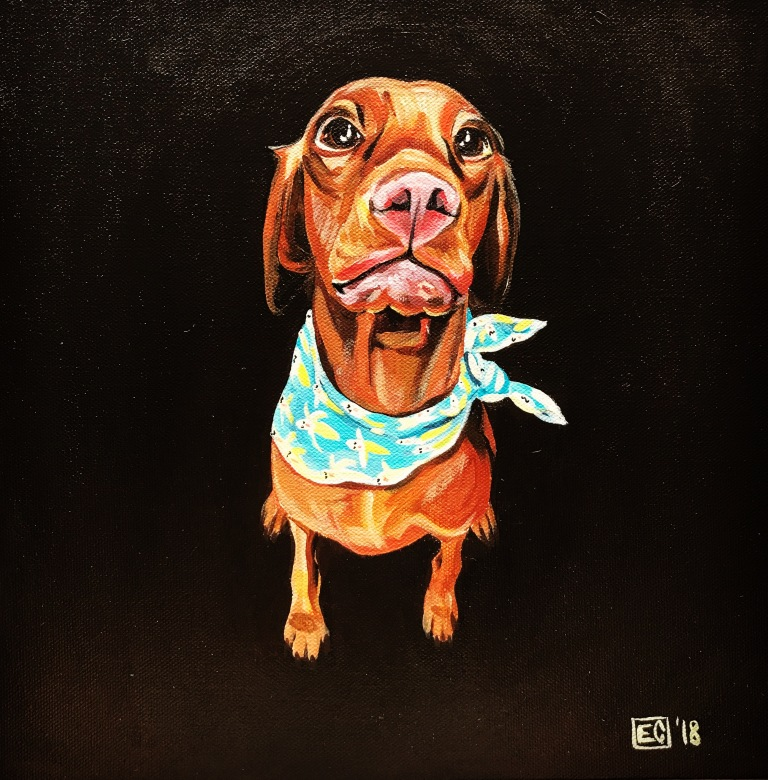 Acrylic painting on canvas of a red dog