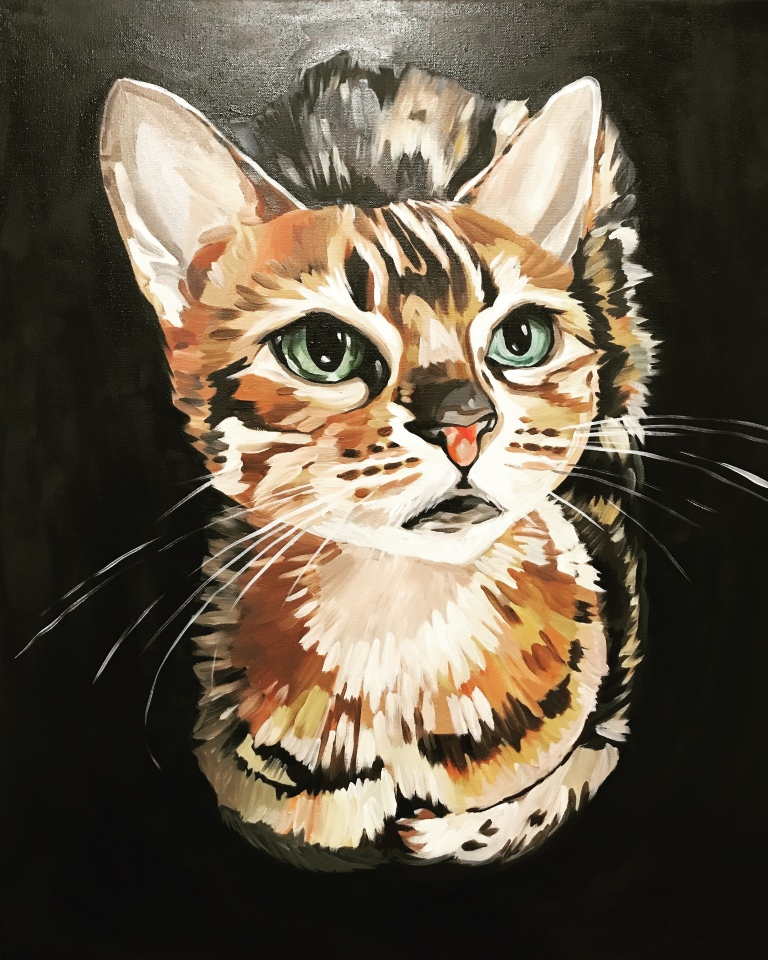 Oil painting on canvas of a cat